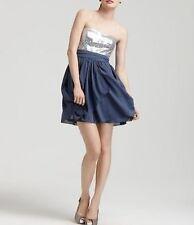 Aqua Dresses Dress Sz 6 Silver Strapless Sequin Bodice Chiffon Cocktail Mini