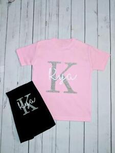 Personalised glitter Initial & Name Leggings & T-shirt Set GIRLS CUSTOM KIDS