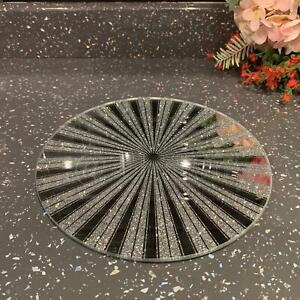 20cm Silver Glitter Round Sunburst Mirror Candle Plate Wedding Table Decor Plate