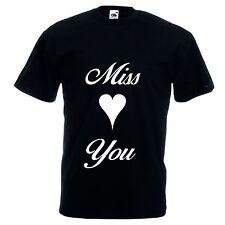 T-shirt manica corta bianca o nera donna uomo scritta MISS YOU