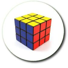 "RUBIK'S CUBE BUTTON BADGE FAB 80'S RETRO GEEK... 25 mm (1"")"