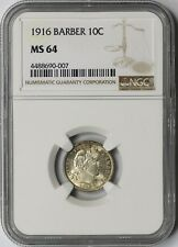 1916 10C NGC MS 64 (Toned) Barber Silver Dime