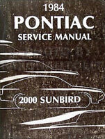 1984 Pontiac 2000 Sunbird Repair Shop Manual 84 Service Book SE LE Original OEM