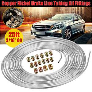 "3/16 "" OD Steel Brake Line Tubing Kit Silver 25 Ft Coils + 16Pcs Nut Fittings"