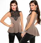 KOUCLA Top Peplum Crochet Lace Lace Top Peplum Lace Blouse Ruffles Shirt