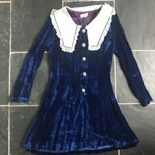 Mini Vestido Vintage 1960s Blue Velvet Prarie Cuello Mod Dolly 60s 70s Talla 8
