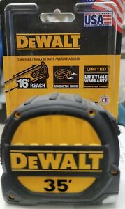 """New without Package  DeWalt 35' Tape Measure Magnetic Hook 16"""" Reach DWHT33976"""