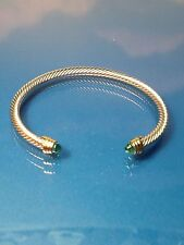 Silver Gold Finish   Turquoise  Crystal   Designer Inspired   Open Cuff Bracelet