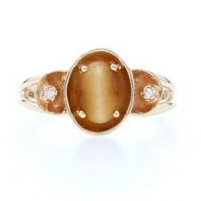 Yellow Gold Tiger's Eye & Diamond Ring - 14k Oval Cabochon Cut