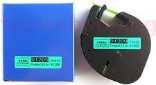 2PK compatible Dymo LetraTag LT 91209 PLASTIC METAL GREEN LABELS Tapes 12MM 4M