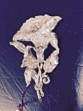 Vintage Silver Tone Pot Metal Rhinestone Flower Brooch Pin
