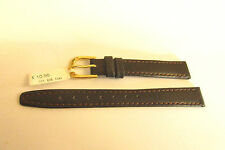 DARLENA BROWN  LEATHER 12MM WATCH STRAP BAND WITH GUILT BUCKLE