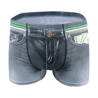 New Men Denim Printing s Trunks Underpants Briefs Shorts Cotton Underwear