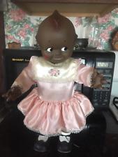 """Vintage 16"""" Kewpie Cameo Black Rubber Doll Squeaker Toy"""