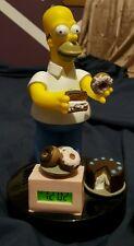 Homer Simpson Novelty Alarm Clock Wesco 1998 Simpsons Choc Cake Plate O Donuts