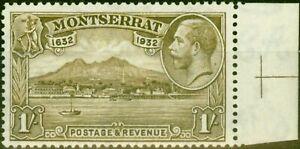 Montserrat 1932 1s Olive-Brown SG91 V.F Very Lightly Mtd Mint