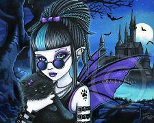 Gothic Vampire Werecat Castle Moon Bat Fairy Myka Jelina Signed Art Print Amelia