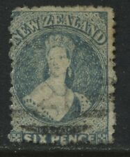 New Zealand 1871 QV Chalon Head 6d blue used (JD)