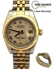 Rolex Datejust 18K Gold & Stainless Automatic 179173 Ivory Pyramid 2006 Watch