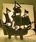 VINTAGE NAUTICAL CLIPPER SAILING SHIP POT METAL TABLE LAMP