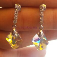 Swarovski yellow crystal real 925 Sterling silver stud earrings Unique design