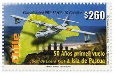 Chile 2001 #2052 50 años primer Vuelo Isla de Pascua Easter Island MNH