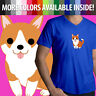 Corgi Dog Puppy Breed Cute Animal Pet Cartoon Mens Unisex Top Tee V-Neck T-Shirt