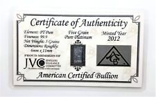 1/3 Gram .999 Fine Platinum Bullion Bar - in Certificate of Authenticity Card