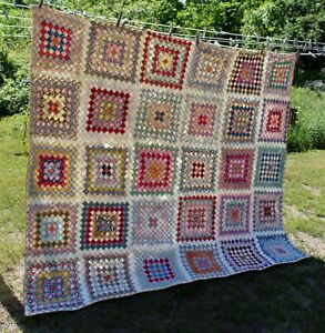 Vtg NEW HAMPSHIRE ESTATE Primitive POSTAGE STAMP QUILT Colorful Fabrics! LOT N
