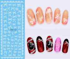WHITE Bows Lace Water Transfers Nail Art Stickers Decal UV Gel Polish Manicure
