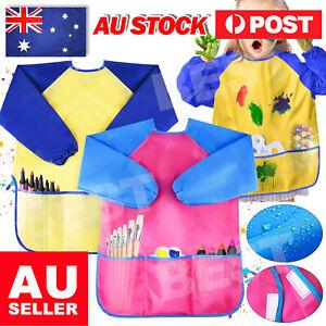 Kids Girl Boy Waterproof Art Smock long sleeve painting shirt paint apron school