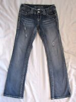 Maurices Vintage Blue Jeans Sz 3/4 3 4 Curvy Boot Cut Distressed Low Rise
