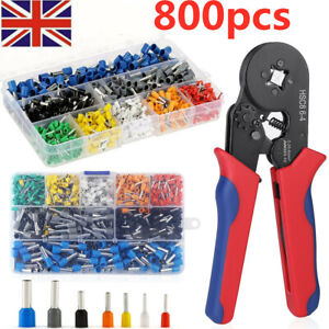 800Pcs Crimp Tool W/ Bootlace Ferrule Crimper Plier Wire Terminal Connector Set
