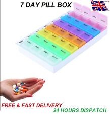 7 Day Weekly Large Multi-Colour Pill Box 28 Compartments with Removable Trays