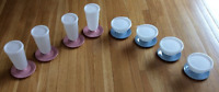 Tupperware Pudding Parfait Sundae Set Dusty Rose Pink & Country Blue Brand New