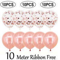 "10x Rose Gold CONFETTI LATEX BALLOONS Helium Large 12"" Birthday Party Wedding UK"