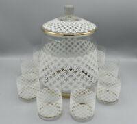 DDR Bowle Set mit 8 Gläsern in wunderschönem Design mit Goldrand