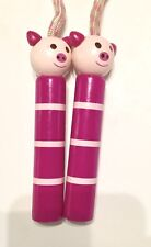 7ft. JUMP ROPE W/WOODEN HANDLES PAINTED PIGLETS PIGS EXCELLENT COND.