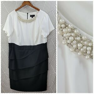 Dress Barn Shift Dress Jewel Pearl beads Embellished Collar Plus size 18 Evening
