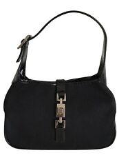 Gucci Jackie Pouchette Clutch Black Satin & Patent Leather Women's Auth. Handbag