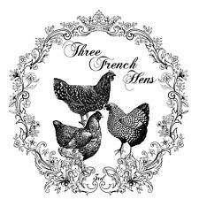 Three French Hens Reusable Adhesive Silkscreen Stencil Christmas with Chickens