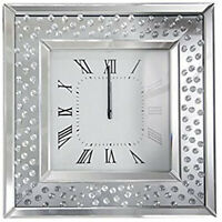 Floating Crystal Bevelled Mirror Wall Clock Silver 50 x 50cmx 5cm Roman numerals