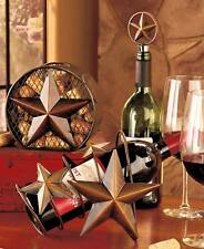 PRIMITIVE STAR WINE BOTTLE HOLDER + STOPPER SET~PARTIES /HOLIDAYS /GIFT IDEA~NIB