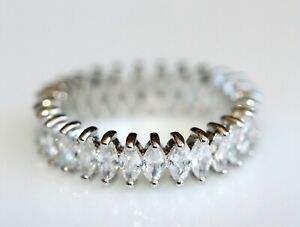 Marquise Cut Created Diamond Eternity Ring Size L / 6