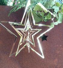 Colgante Estrella Metal Navidad brocante Shabby Chic NUEVO 7cm SET DE DOS