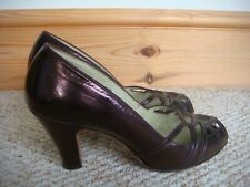 "Fabulous Metallic Dark Rose Vintage 1950's Clarks ""Skyline"" Elsiinore Shoes UK 7"