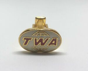 TWA Airlines Vintage 1970s Used Cufflink Metal Gold Color Only One Available