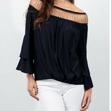 LOLA & SOPHIE NWT $195 Black Off Shoulder Chain Detail Blouse Sz XS