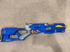 Blue Nerf Longstrike CS-6 NO BOLT / CLIP FREE SHIPPING Nerf Gun Vintage