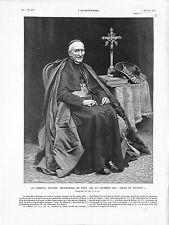 Cardinal Richard Archevêque Paris Noce de Diamant/Chapelle Vatican GRAVURE 1905